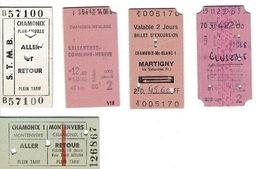 Ticket De Transport : 1977 / 78- 5 Tickets Dont 4 CHAMONIX, MONT BLANC Et Les Environs , ( France ) - Tickets - Vouchers