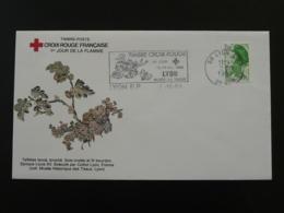 Lettre Cover Vers à Soie Silk Worm 1er Jour Flamme Croix Rouge Lyon 1989 - Insectes