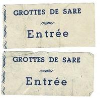 Ticket D'entrée :1960 -  2 Unités  LES GROTTES DE SARE  - ( France ) - Tickets - Vouchers