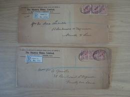 LOT DE 2 ENVELOPPES THE SHAMVA MINES LONDON 1915 1916 - Postmark Collection