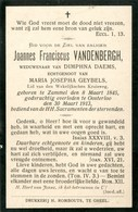 Dp. Vandenbergh Joannes. Wed. Daems Dimphna. ° Zammel 1845 † Oosterloo 1913 - Religión & Esoterismo
