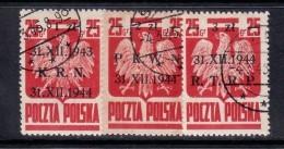POLAND 1944  MICHEL NO: 386-388   USED - Usados