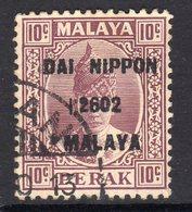 Malaya Japanese Occupation 1942 10c Dai Nippon On Perak, Used, SG J249 - Japanese Occupation