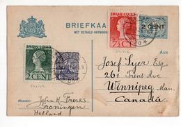 Groningen Langebak 20 - Bij Frankering Buitenland Canada  - 1924 - Postal History