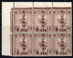 Malaya Japanese Occupation 1943 Kanji Overprint 6c On 5c On NS Marginal Block Of 6, Medium Toning, MNH, SG J268 - Japanese Occupation