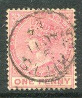 St. Christopher - St Kitts & Nevis - 1882 QV - Wmk. Crown CA - 1d Carmine-rose Used (SG 13) - St.Cristopher-Nevis & Anguilla (...-1980)
