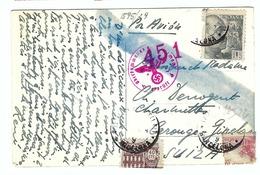 ESPAGNE 1943: CP Censure Allemande Pour La Suisse - 1931-50 Lettres