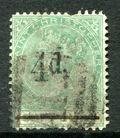 St. Christopher - St Kitts & Nevis - 1886 QV - Surcharges - 4d On 6d Green Used (SG 25) - Short Perf - San Cristóbal Y Nieves - Anguilla (...-1980)