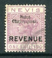 St. Christopher - St Kitts & Nevis - 1884 QV - Revenue - 1/- Violet Used (Barefoot 23) - San Cristóbal Y Nieves - Anguilla (...-1980)