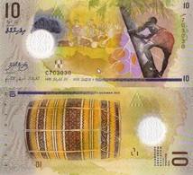 MALDIVES, 10 Rufiyaa, 2015 (2016), P26, UNC, Polymer, New Design - Maldives