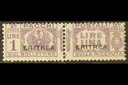 ERITREA PARCEL POST 1927-37 1L Violet Overprint (SG P128, Sassone 27), Fine Mint Horizontal Pair, Small Corner Gum Wrink - Unclassified