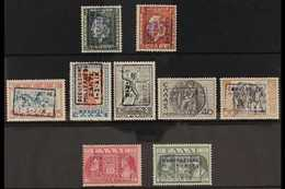 """ITALIAN OCCUPATION OF ZANTE 1941 Boxed Handstamps On Stamps Of Greece With King George II Types 1d And 3d, """"Mythological - Unclassified"""