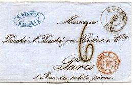 LSC De Halle Pour Paris Cachet D'entrée 3  PRUSSE 3  ERQUELINES En Rouge (1863) - [1] ...-1849 Préphilatélie