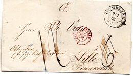 LSC De Gumbinnen Pour Lille Cachet D'entrée PRUSSE LILLE En Rouge (1866) - Taxe Rectifiée - [1] ...-1849 Préphilatélie
