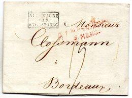 LAC De Mannheim Pour Bordeaux Cachet D'entrée ALLEMAGNE  /PAR / STRASBOURG (1821) - [1] ...-1849 Préphilatélie