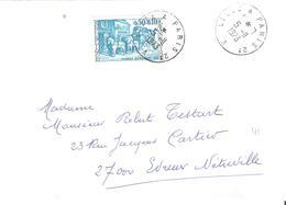 0.50 + 0.10 JOURNEE DU TIMBRE 1973 Seul Sur Lettre Oblitéré Ambulant LILLE A PARIS 2° - Poststempel (Briefe)
