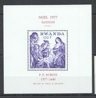 UU948 ONLY ONE IN STOCK 1977 RWANDA ART PAINTINGS CHRISTMAS RUBENS MICHEL BL83 MNH - Rubens