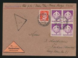 Deutsches Reich Nachnahme Brief Viererblock 818 Wehrkampftage Stuttgart Forbach - Deutschland