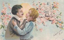 CPA 1911 - Illustrateur-  Couple Sous Un Arbre En Fleurs - Nid Oiseaux (lot Pat 103/03) - Paare