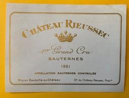 12634 - Château Rieussec 1961 Sauternes - Bordeaux