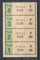 Erfurt / THüringen 4 Fahrscheine P65 Strassenbahn Und Busse - Tramways