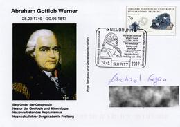 Germany 2017:  Abraham Gottlob Werner, Geologist, Mineralogist, Geology, Mineralogy, Postmark, Used Cover - Geology