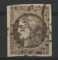 N°47 Cote 250 €. 30ct Brun. Emission De Bordeaux. Oblitéré. TB - 1870 Bordeaux Printing