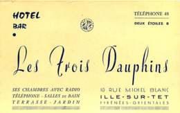 250320B - CARTE DE VISITE - 66 ILLE SUR TET Hôtel Bar LES TROIS DAUPHINS Rue Michel Blanc - France