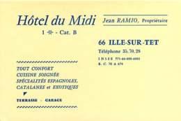250320B - CARTE DE VISITE - 66 ILLE SUR TET Jean RAMIO Propriétaire HOTEL DU MIDI * - France