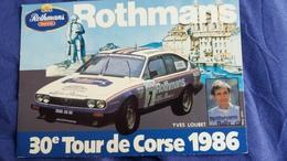 CPSM VOITURE DE SPORT 30 EME TOUR DE CORSE 1986 YVES LOUBET ROTHMAN S IMP CHARCES STATUE NAPOLEON - Rally