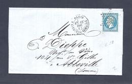 LETTRE  PARIS R DU CARDINAL LEMOINE  DU 18 DEC 1867  ETOILE 23 - 1863-1870 Napoleon III With Laurels