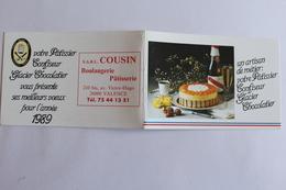Petit Calendier 1989 Offert Par  COUSIN BOULANGERIE PATISSERIE VALENCE - Calendriers