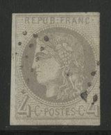 N° 41B 4ct Gris Report 2. Cote 350 € Oblitéré. Voir Description - 1870 Bordeaux Printing
