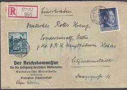 Wlk_ Generalgouvernement - Mi.Nr. 70 + 73 -  Einschreiben Von Cholm Nach Litzmannstadt - Occupation 1938-45