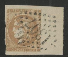 """N° 43B 10ct Bistre Report 2. Cote 135 € Oblitéré """"1307"""". Avec Un Grand Bord De Feuille. Voir Description - 1870 Bordeaux Printing"""