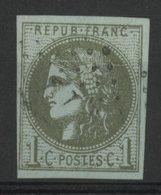N° 39C 1ct Bistre Olive Clair Report 3 (état 1). Cote 175 € Oblitéré. TB - 1870 Bordeaux Printing