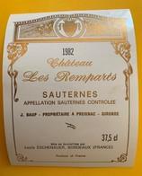 12666 - Château Les Remparts 1982 Sauternes - Bordeaux