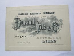 LILLE Rare Cpa Maison Fernand DURAND  Fils & Cie  ,  Vins & Alcools  1912 Pour Bistro Estaminet - Lille