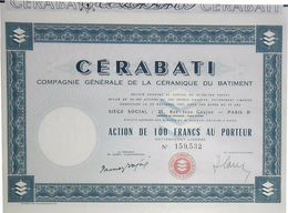 CERABATI Action De 100 Frs 1921 (Paray-le-Monial) - Industrie