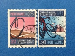 1968 ITALIA CICLISMO SU PISTA CAMPIONATI MONDIALI FRANCOBOLLI USATI ITALY STAMPS USED - 6. 1946-.. Repubblica