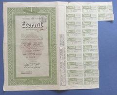Certificato Azionario Per 1 Azione Società Eternit - Con Cedole - 1962 - Unclassified