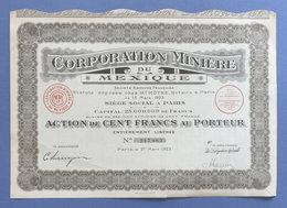Certificato Azionario Corporation Miniere Du Mexique - 100 Franchi - 1923 - Unclassified