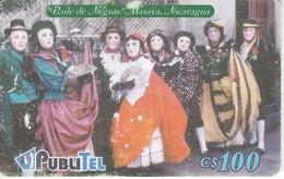 TARJETA DE NICARAGUA DE PUBLITEL DEL BAILE DE NEGRAS (rozada) - Nicaragua