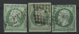N° 12 Cote 285 € 3 Nuances Différentes (Vert Jaune Clair / Vert Jaune / Vert) Avec Défauts, Vendu 5% De La Cote - 1853-1860 Napoléon III.