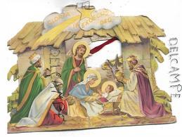 Pop Up Card. Sainte Famille à La Crèche. Rois Mages En Adoration. - Devotion Images