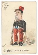 Aquarelle Signée ROBERT - E. ÉTIENNE Ministre De La Guerre - Janvier 1913 - Caricature Politique - Humour - Robert
