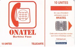 TARJETA DE BURKINA FASO DE 10 UNITES DE ONATEL - Burkina Faso