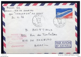 Let233 Concorde Premier Vol Paris Rio Janeiro 21-01-1976/lettre - Poste Aérienne