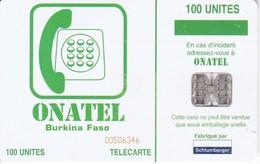 TARJETA DE BURKINA FASO DE 100 UNITES DE ONATEL - Burkina Faso