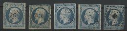 N° 10 Cote 345 €. 5 Nuances Différentes (Bleu Laiteux / Bleu Verdâtre S/ Papier Crème / Bleu Clair / Bleu / Bleu Foncé) - 1852 Louis-Napoléon